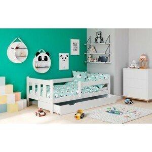 Dřevěná dětská postel tommy 80x160, borovice bílá, úp, bez matrace