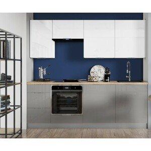 Rovná kuchyně jodie 220 cm (bílá, šedá, vysoký lesk)
