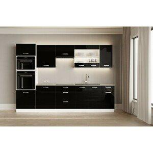 Kuchyně Vicky black 300 cm (černá vysoký lesk)