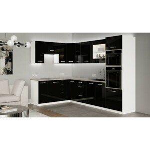 Rohová kuchyně Vicky black levý roh 290x180cm(černá vysoký lesk)
