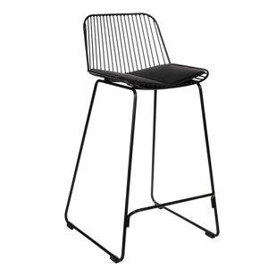 Židle barová DILL LOW černá s černým polštářem