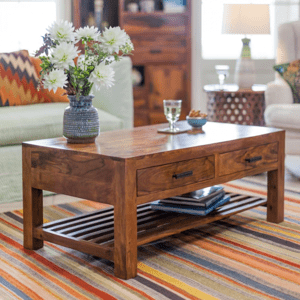 Konferenční stolek Rami 110x45x60 z indického masivu palisandr / sheesham Světle medová