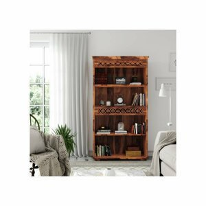 Knihovna Mira 90x180x35 z indického masivu palisandr / sheesham Světle medová