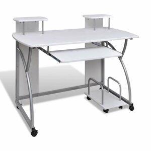 Počítačový stůl DTD / kov Dekorhome Bílá