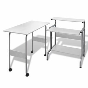 Počítačový stůl 2 ks DTD / kov Dekorhome Bílá