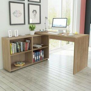 PC stůl s regálem dřevotříska Dekorhome Dub