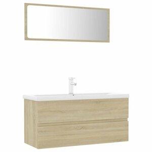 Koupelnový set 4 ks Dekorhome Dub sonoma