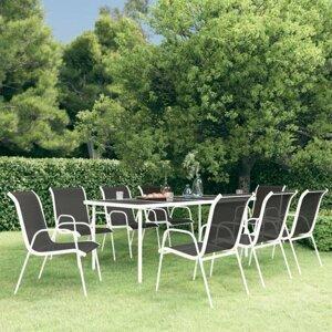 Zahradní jídelní set 9 ks černá / šedá Dekorhome