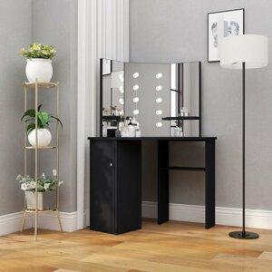 Rohový toaletní stolek s LED Dekorhome Černá