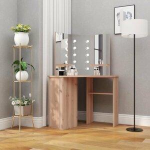 Rohový toaletní stolek s LED Dekorhome Dub
