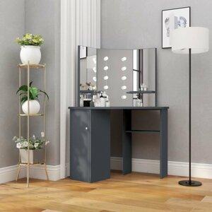 Rohový toaletní stolek s LED Dekorhome Tmavě šedá