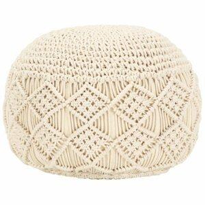 Ručně pletený taburet Dekorhome Krémová