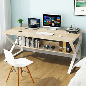 Pracovní stůl s policí TARCAL dub / bílá Tempo Kondela
