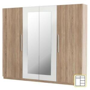 Šatní skříň se zrcadlem MARTINA dub sonoma / bílá Tempo Kondela