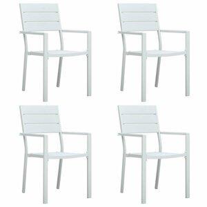 Zahradní židle 4 ks HDPE dřevěný vzhled Dekorhome Bílá
