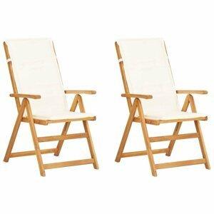 Zahradní polohovací židle 2 ks akáciové dřevo Dekorhome Krémová