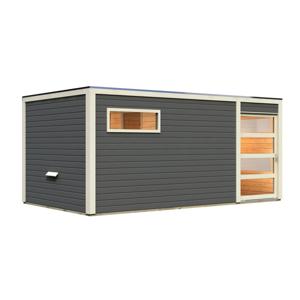Venkovní finská sauna s předsíní 508 x 276 cm Dekorhome Šedá