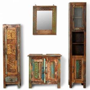 Koupelnová sestava dřevo Dekorhome Recyklované dřevo