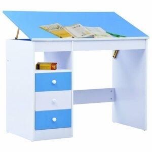 Dětský psací stůl náklopný Dekorhome Modrá