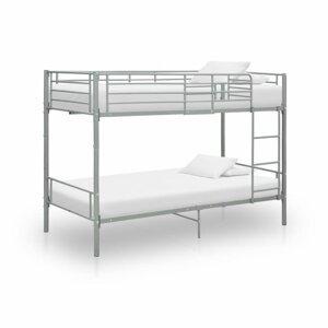 Patrová postel 90x200 cm kov Dekorhome Šedá