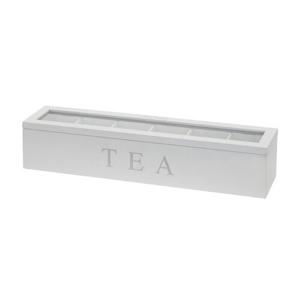Emako Dřevěný obdélníkový box na čaj TEA, 6 přihrádek
