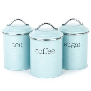 Sada dóz na kávu, čaj a cukr, modrá