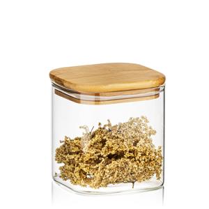 4Home Skleněná dóza na potraviny s víkem Bamboo, 550 ml