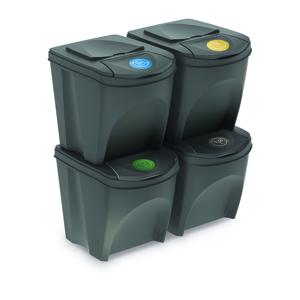 Koš na tříděný odpad Sortibox 25 l, 4 ks, šedá IKWB20S4 405U