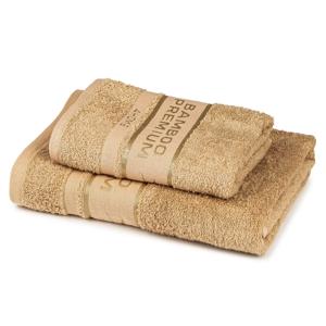 4Home Sada Bamboo Premium osuška a ručník béžová, 70 x 140 cm, 50 x 100 cm