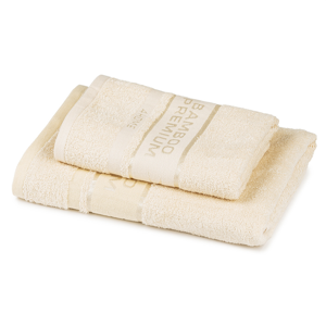 4Home Sada Bamboo Premium osuška a ručník krémová, 70 x 140 cm, 50 x 100 cm
