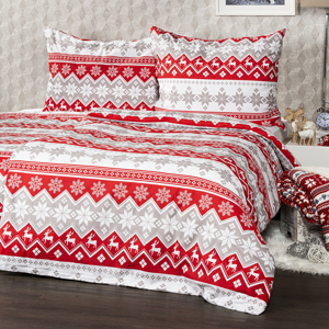 4Home Bavlněné povlečení Red Nordic, 220 x 200 cm, 2 ks 70 x 90 cm
