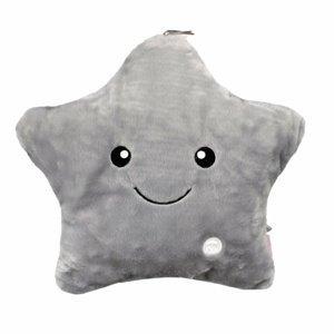 Domarex Polštářek Shiny Star LED šedá, 40 x 35 cm