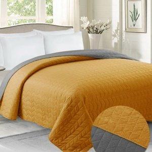 Domarex Přehoz na postel Benita šedá/hořčicová, 220 x 240 cm