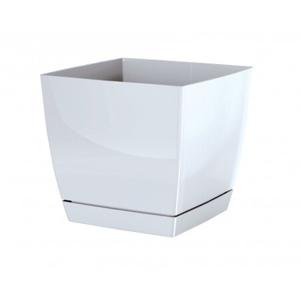 Prosperplast Květináč Coubi Square s miskou bílá, 18 cm, 18 cm
