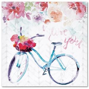 Obraz na plátně Floral bicycle, 28 x 28 cm