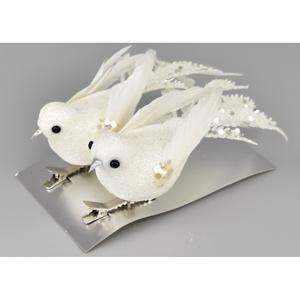 Vánoční dekorace Ptáčci 2 ks, bílá