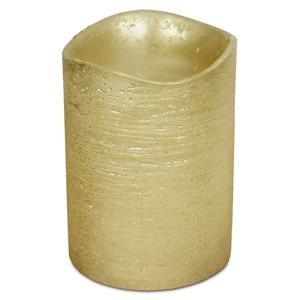 LED svíčka potažená voskem 7,6 x 10 cm, zlatá