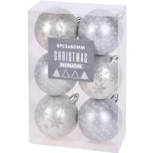 Sada vánočních ozdob Pachino stříbrná, 6 ks, pr. 6 cm