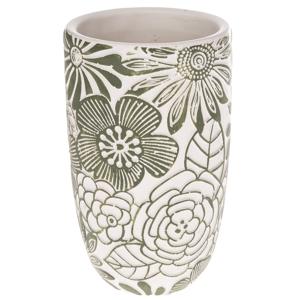 Betonová váza Flower, růžová, 12,5 x 21 x 12,5 cm