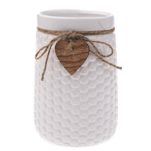 Keramická váza Heart, bílá, 12 x 17,5 x 16,5 cm