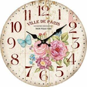 Dřevěné nástěnné hodiny Ville de Paris, 34 cm