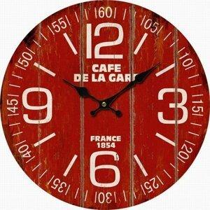 Dřevěné nástěnné hodiny Cafe de la gare, pr. 34 cm