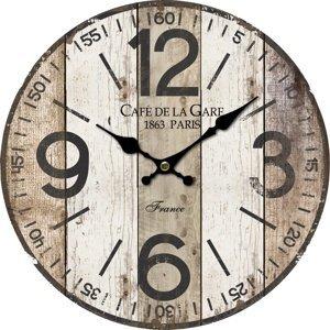 Dřevěné nástěnné hodiny Old boards, pr. 34 cm