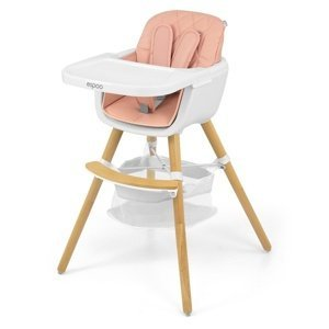 Milly Mally Jídelní židlička 2v1 Espoo růžová, 83,5 x 52 x 52 cm