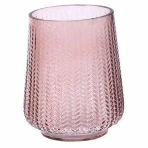 Skleněná váza Sorriso růžová, 12 x 15 cm