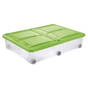 Tontarelli STOCKBOX s víkem, kolečka, 28 l, transparentní/zelená