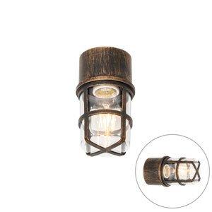 Plafond- en wandlamp antiek goud met heldere kap IP54 - Kiki