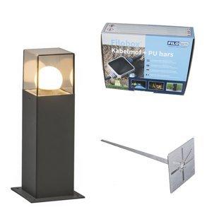 Venkovní lampa 30 cm antracitová s hrotem země a kabelovým pouzdrem - Dánsko