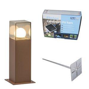Venkovní lampa 30 cm rezavě hnědá se zemitým hrotem a kabelovým pouzdrem - Dánsko