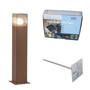 Venkovní lampa 50 cm rezavě hnědá se zemitým hrotem a kabelovým pouzdrem - Dánsko
